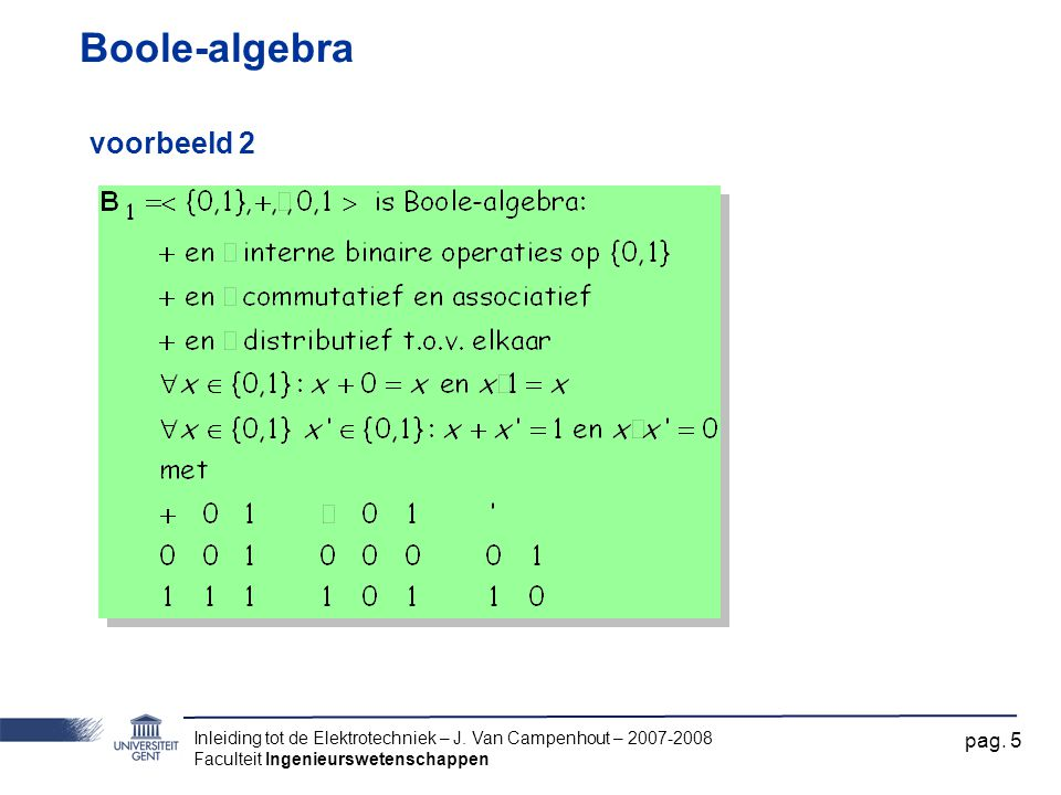 Boole-algebra voorbeeld 2