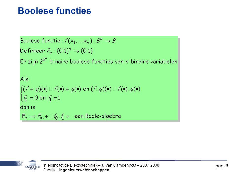 Boolese functies Inleiding tot de Elektrotechniek – J.
