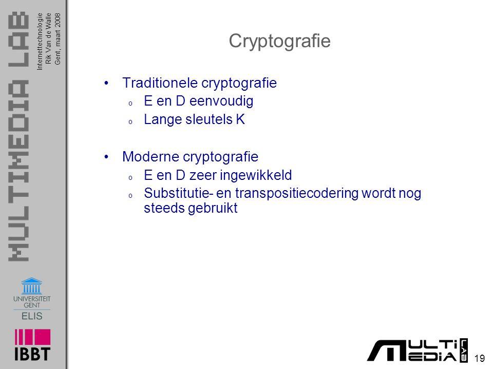 Cryptografie Traditionele cryptografie Moderne cryptografie