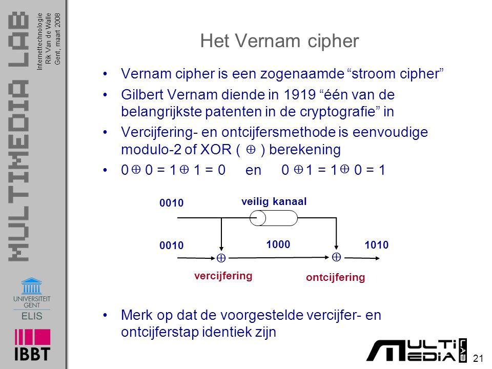 Het Vernam cipher Vernam cipher is een zogenaamde stroom cipher