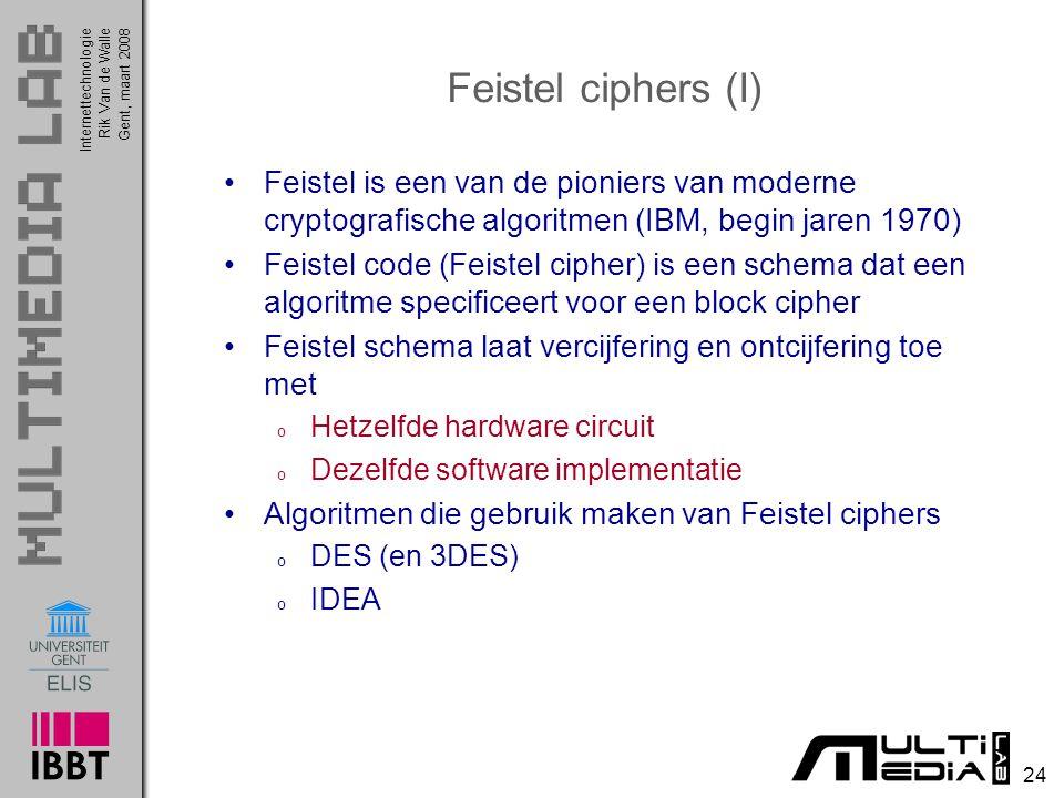 Feistel ciphers (I) Feistel is een van de pioniers van moderne cryptografische algoritmen (IBM, begin jaren 1970)