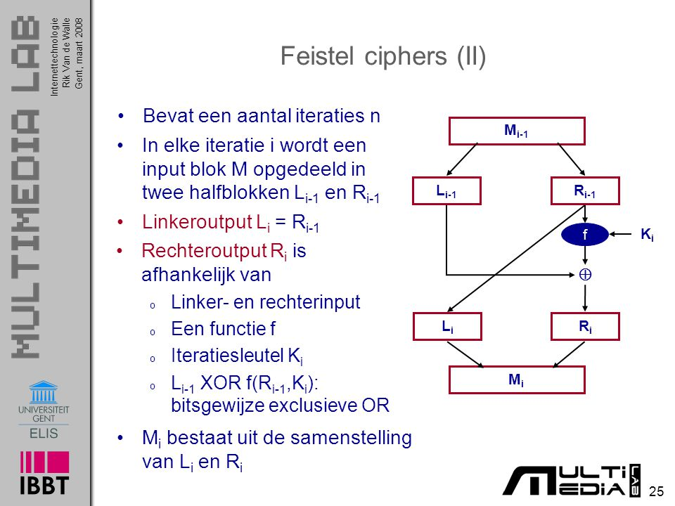 Feistel ciphers (II) Bevat een aantal iteraties n