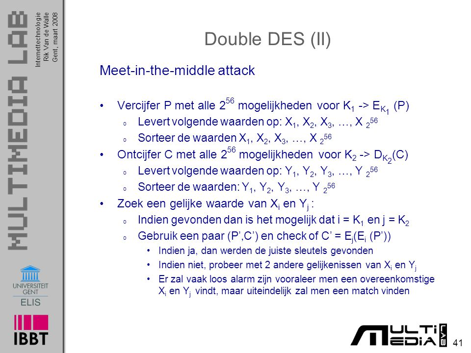 Double DES (II) Meet-in-the-middle attack