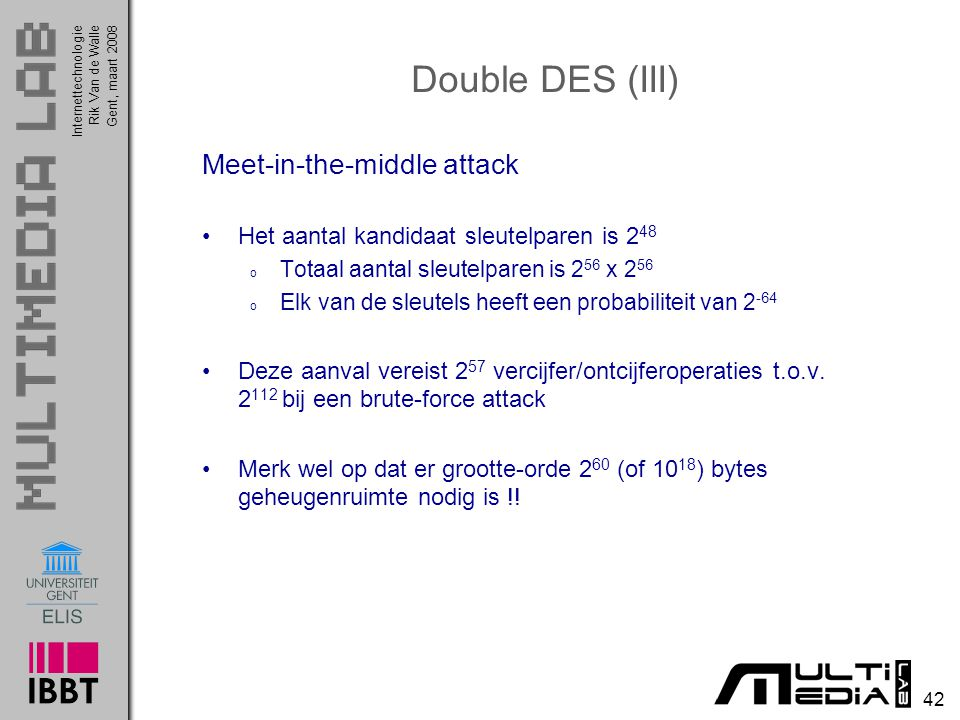 Double DES (III) Meet-in-the-middle attack