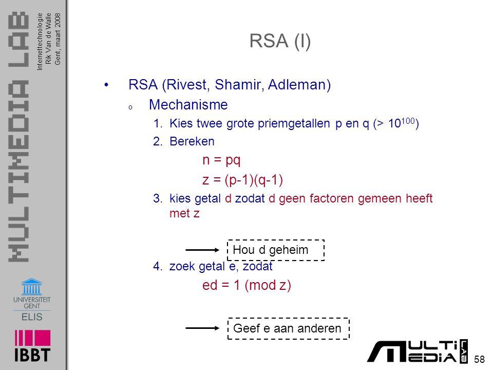 RSA (I) RSA (Rivest, Shamir, Adleman) Mechanisme n = pq z = (p-1)(q-1)