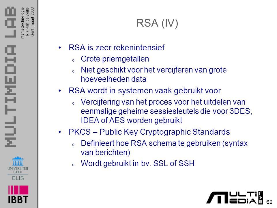 RSA (IV) RSA is zeer rekenintensief