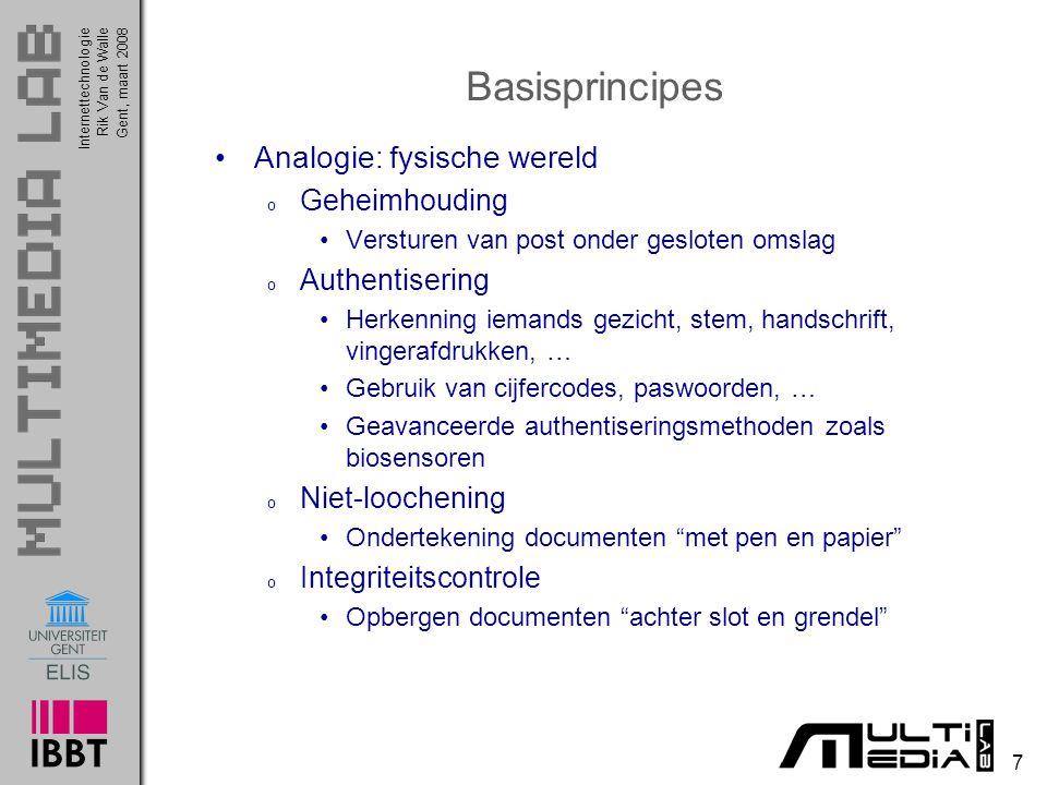 Basisprincipes Analogie: fysische wereld Geheimhouding Authentisering