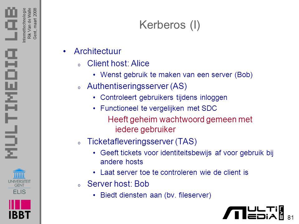 Kerberos (I) Architectuur Client host: Alice