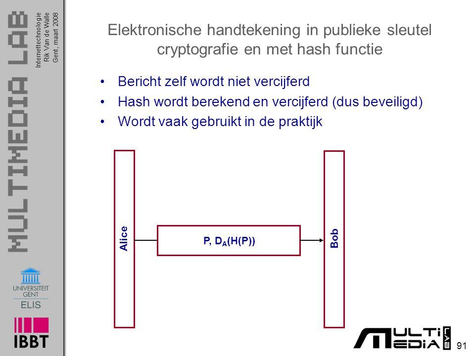 Elektronische handtekening in publieke sleutel cryptografie en met hash functie
