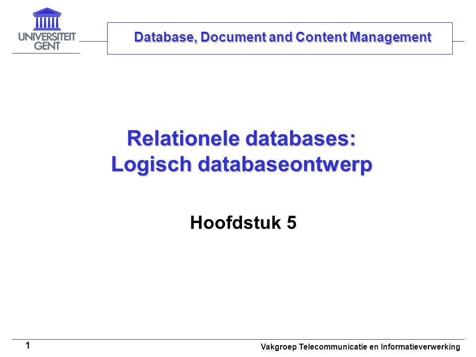 Relationele databases: Logisch databaseontwerp