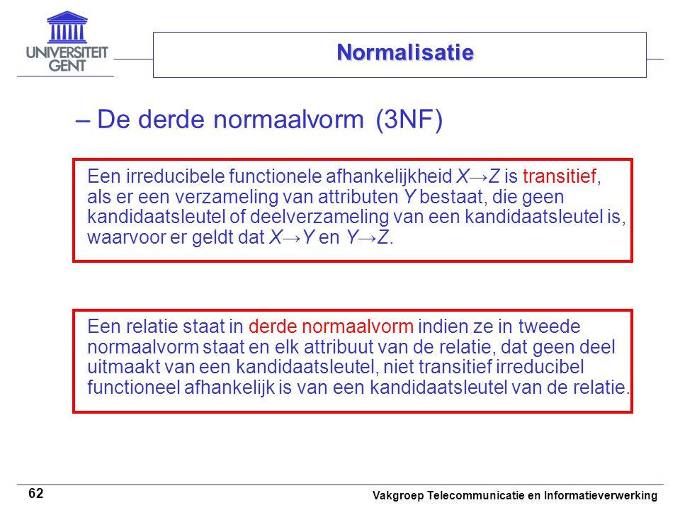 De derde normaalvorm (3NF)