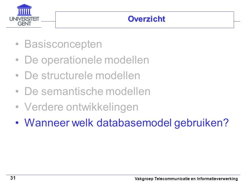 De operationele modellen De structurele modellen