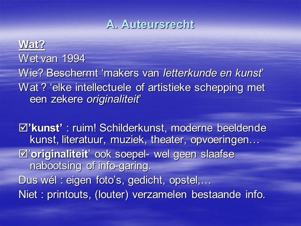 A. Auteursrecht Wat Wet van 1994