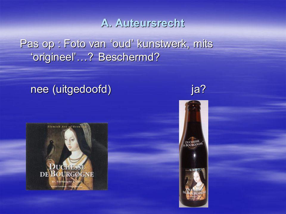 A. Auteursrecht Pas op : Foto van 'oud' kunstwerk, mits 'origineel'….