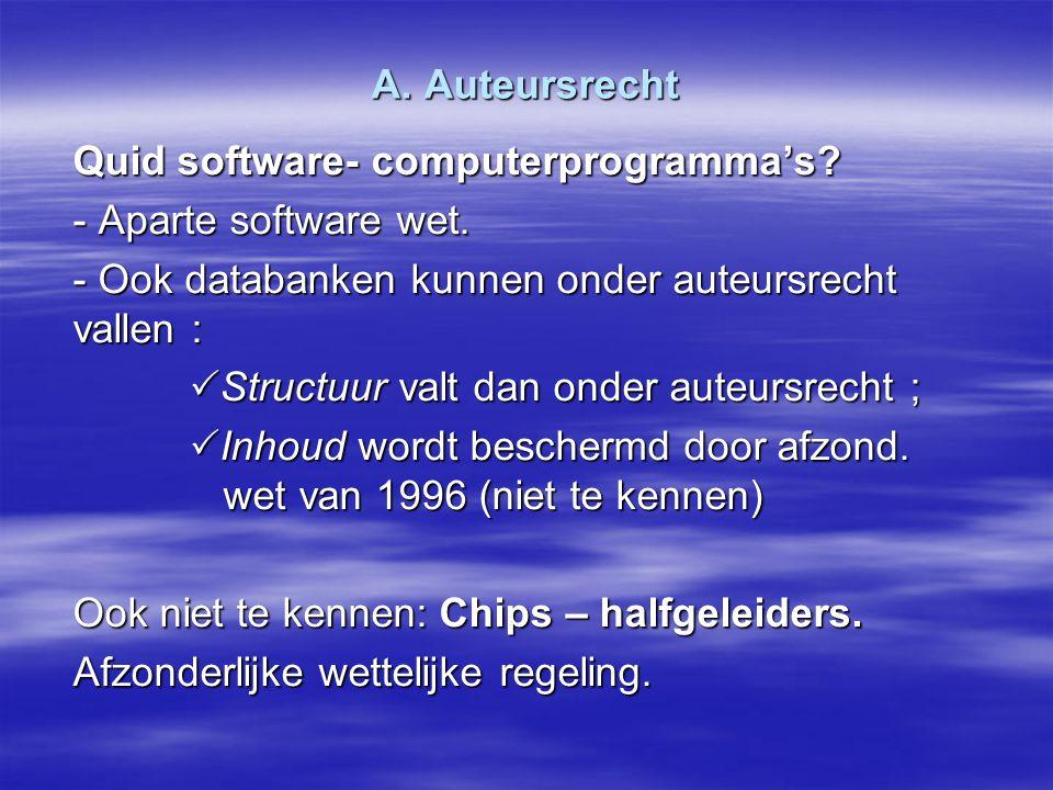 A. Auteursrecht Quid software- computerprogramma's - Aparte software wet. - Ook databanken kunnen onder auteursrecht vallen :