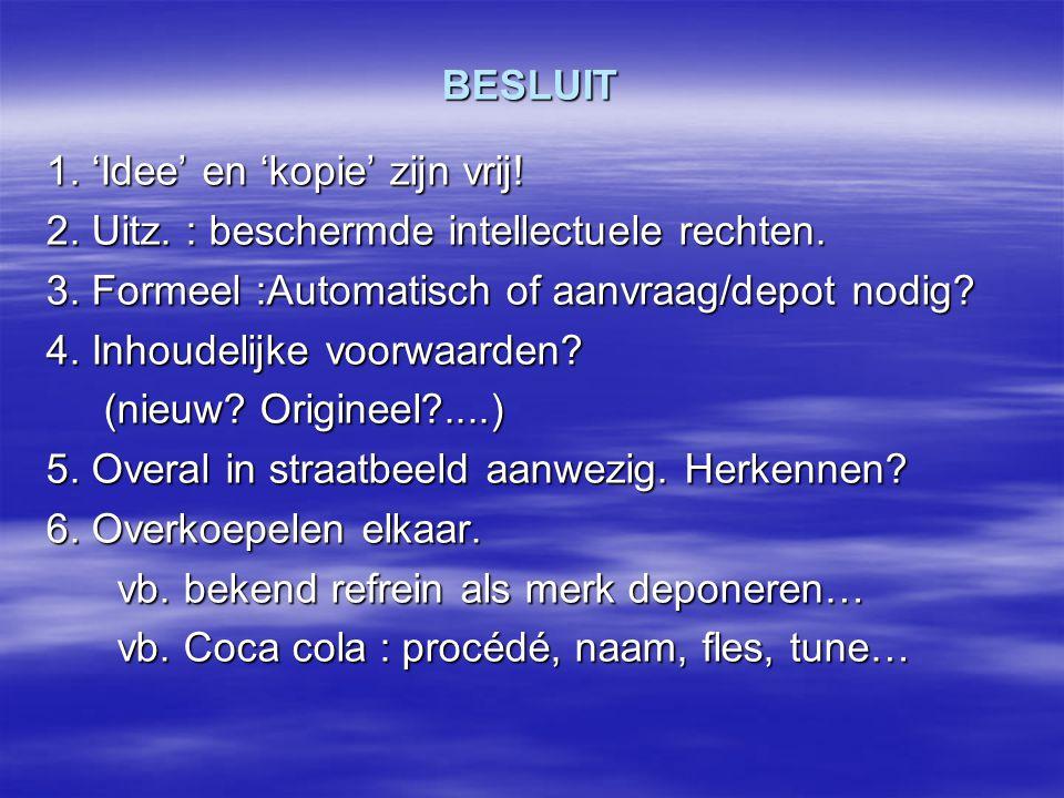BESLUIT 1. 'Idee' en 'kopie' zijn vrij! 2. Uitz. : beschermde intellectuele rechten. 3. Formeel :Automatisch of aanvraag/depot nodig