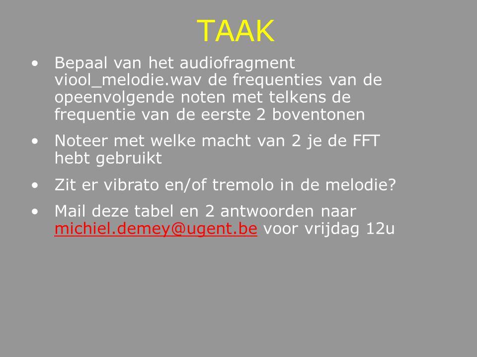 TAAK Bepaal van het audiofragment viool_melodie.wav de frequenties van de opeenvolgende noten met telkens de frequentie van de eerste 2 boventonen.