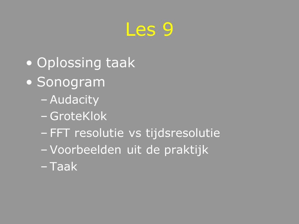 Les 9 Oplossing taak Sonogram Audacity GroteKlok