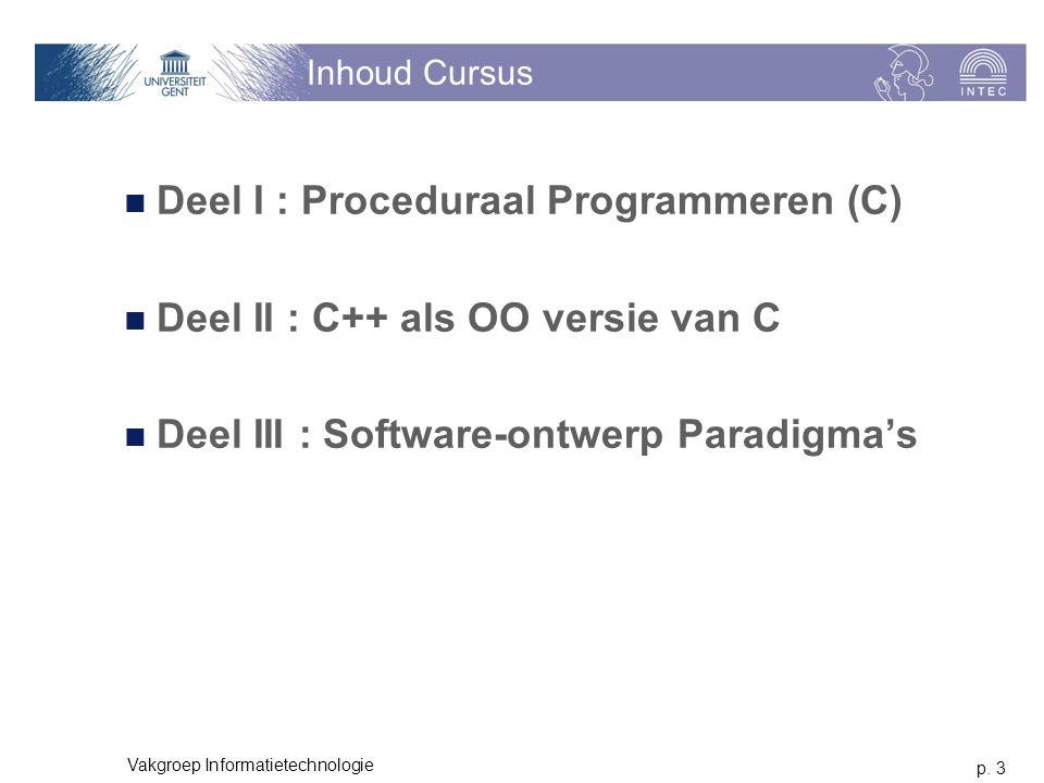 Deel I : Proceduraal Programmeren (C)