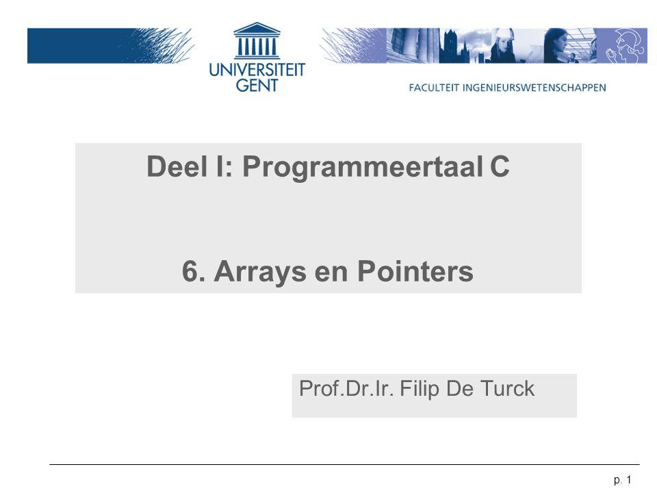 Deel I: Programmeertaal C 6. Arrays en Pointers