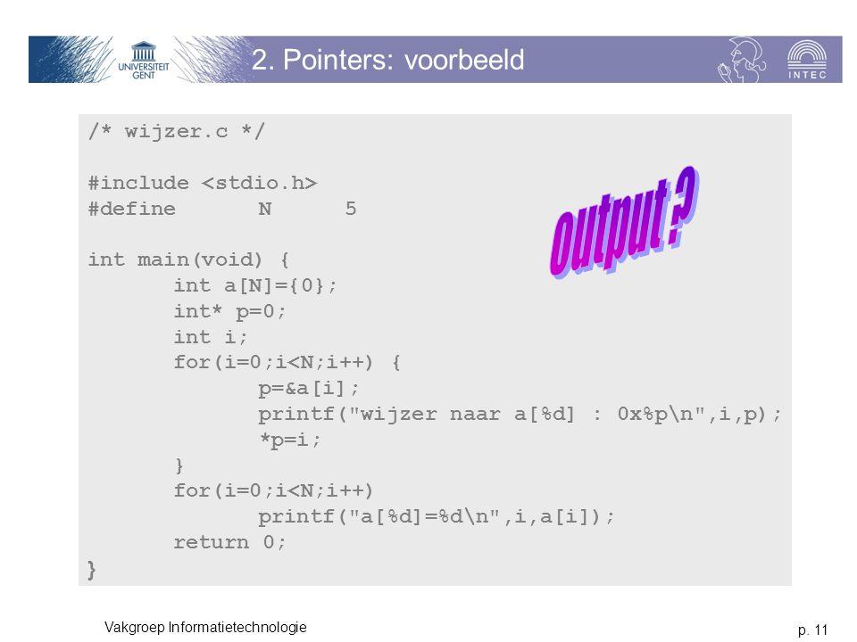 output 2. Pointers: voorbeeld /* wijzer.c */
