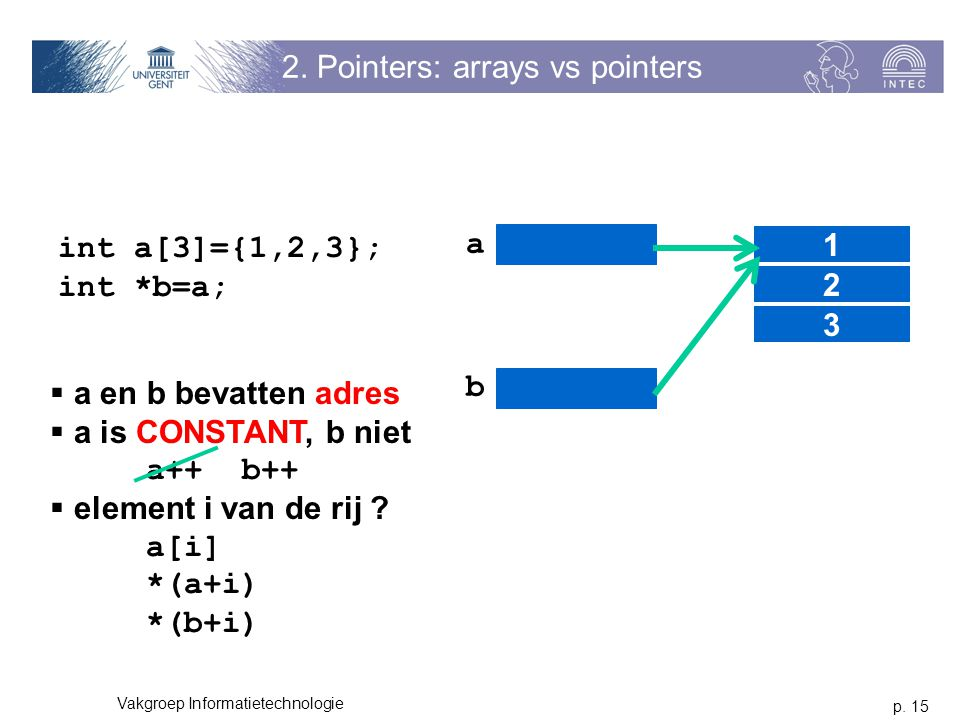 2. Pointers: arrays vs pointers