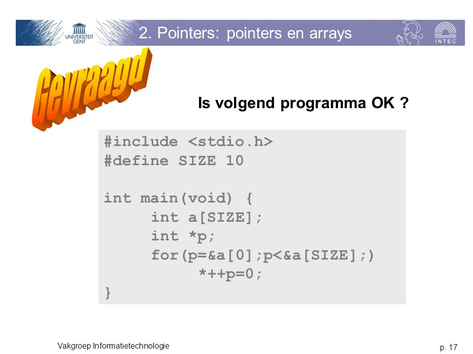 2. Pointers: pointers en arrays