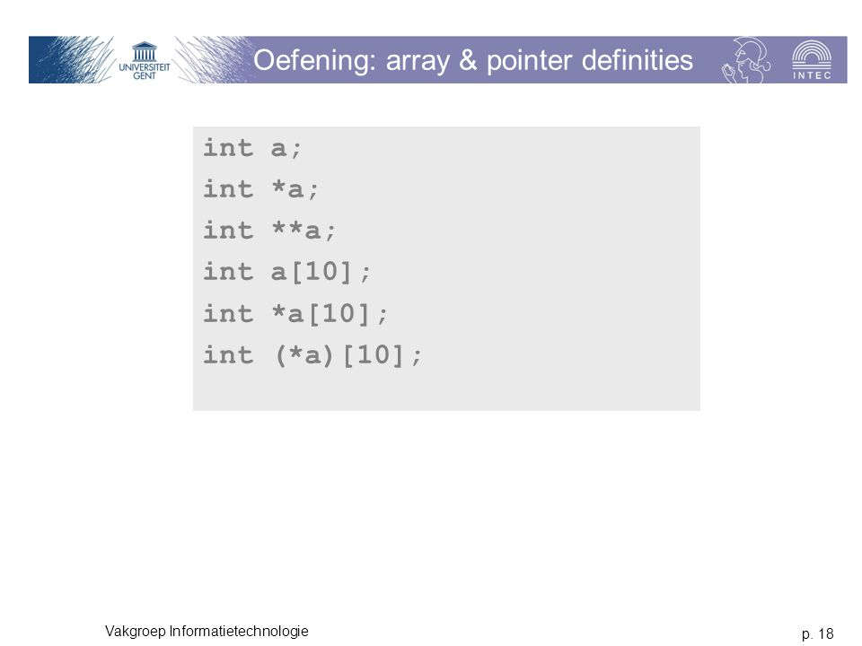 Oefening: array & pointer definities