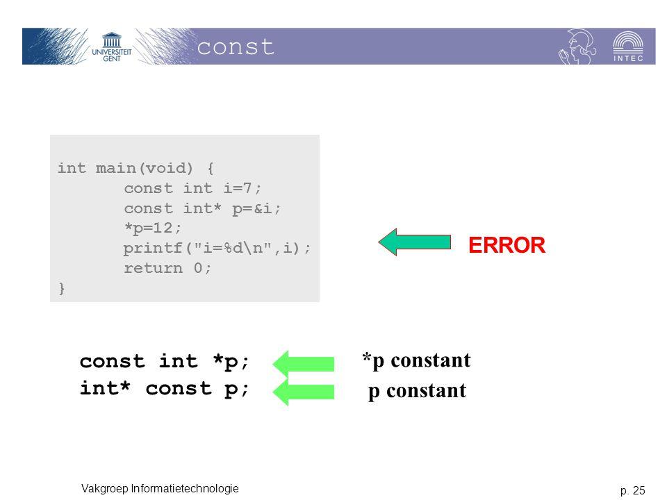 const ERROR *p constant const int *p; int* const p; p constant