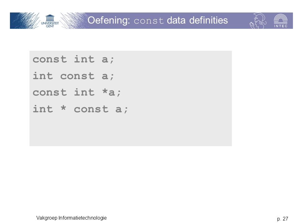 Oefening: const data definities