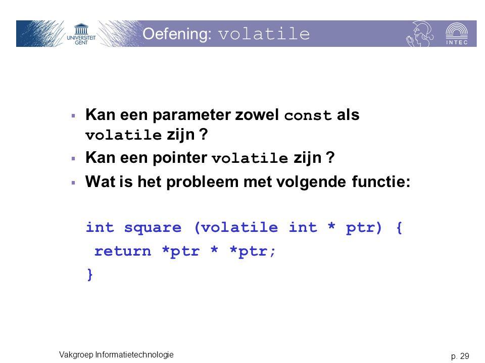 Kan een parameter zowel const als volatile zijn
