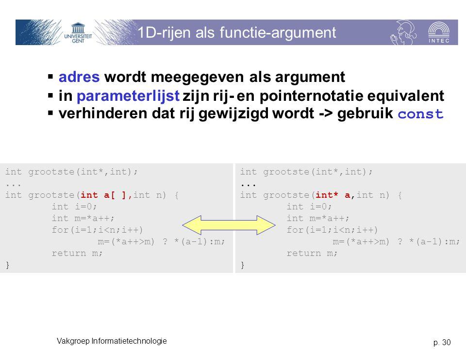 1D-rijen als functie-argument