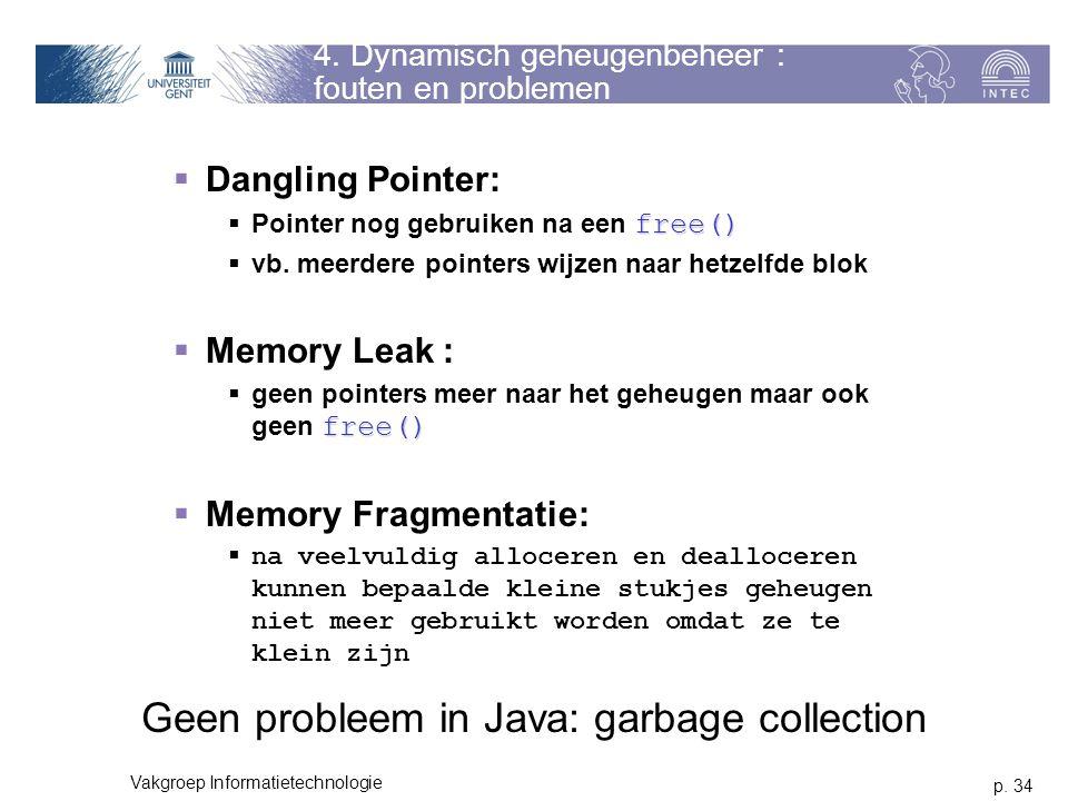 4. Dynamisch geheugenbeheer : fouten en problemen