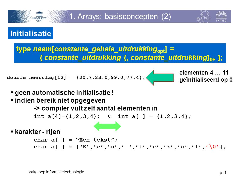 1. Arrays: basisconcepten (2)