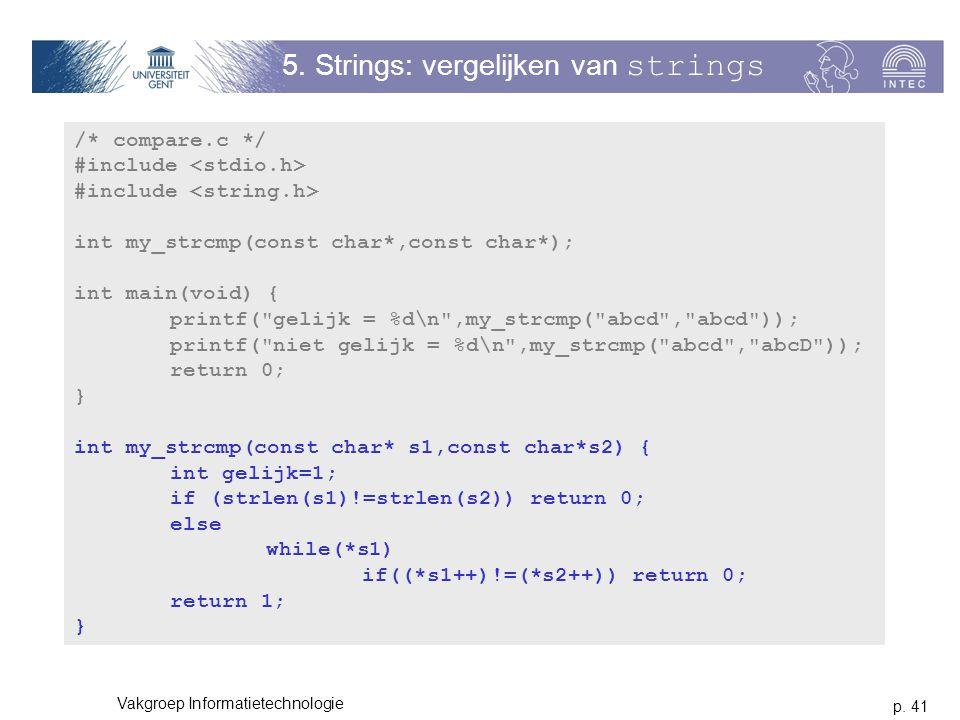 5. Strings: vergelijken van strings