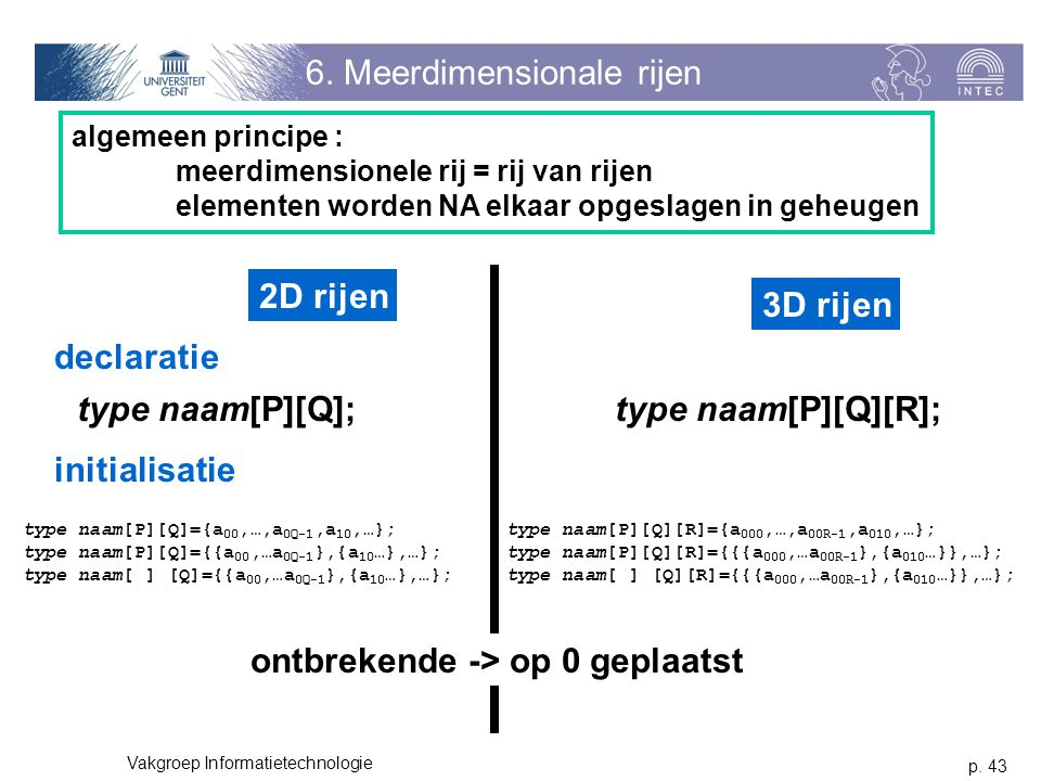 6. Meerdimensionale rijen