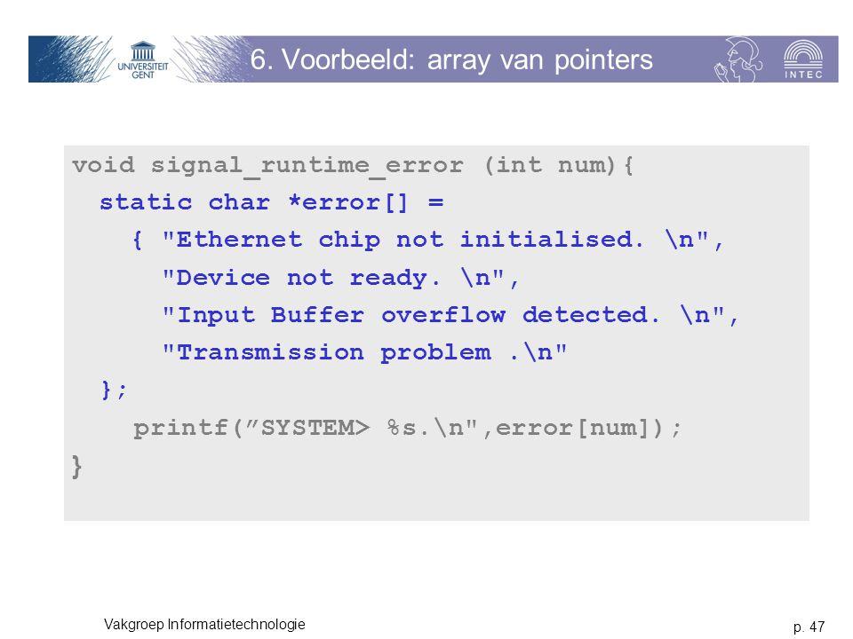 6. Voorbeeld: array van pointers