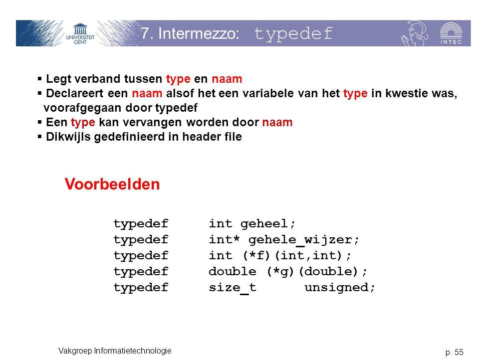 7. Intermezzo: typedef Voorbeelden typedef int geheel;