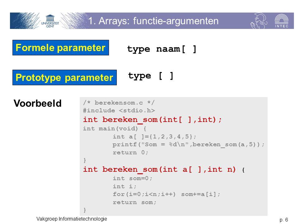 1. Arrays: functie-argumenten