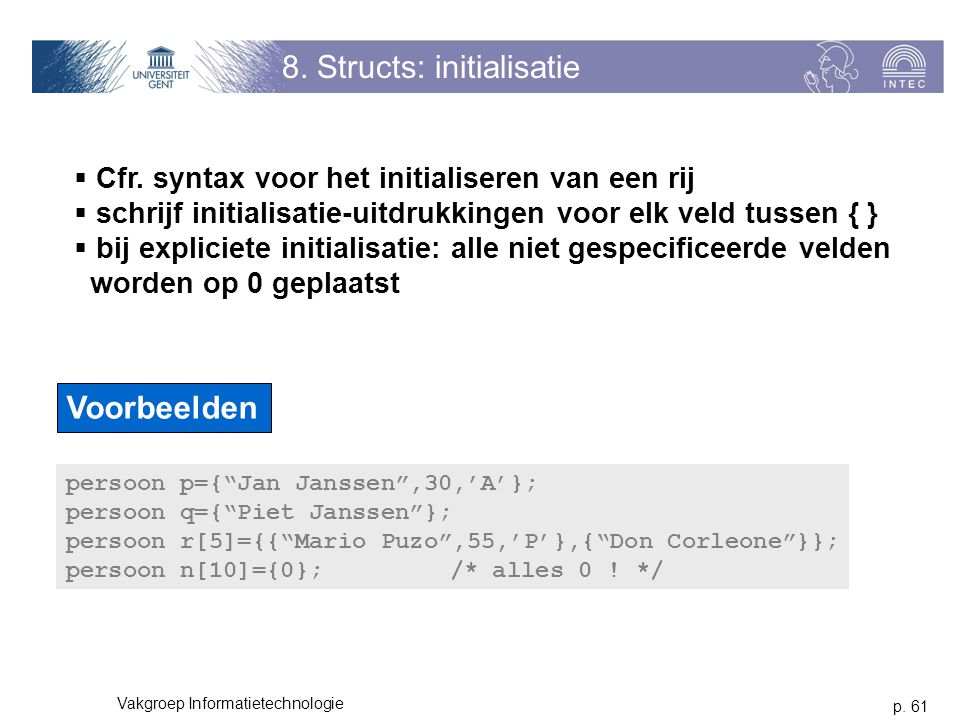 8. Structs: initialisatie