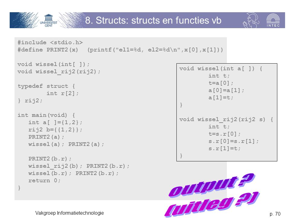 8. Structs: structs en functies vb