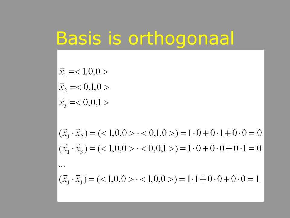 Basis is orthogonaal