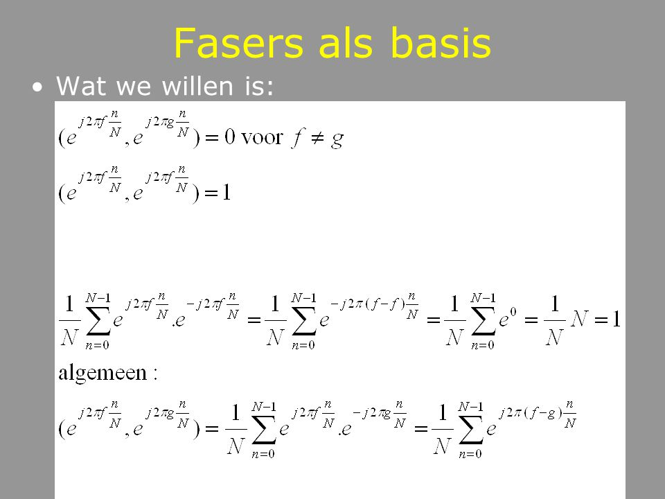 Fasers als basis Wat we willen is: