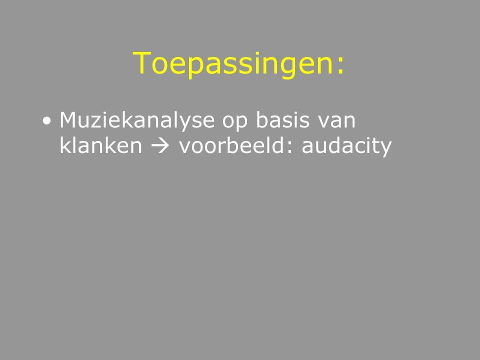Toepassingen: Muziekanalyse op basis van klanken  voorbeeld: audacity