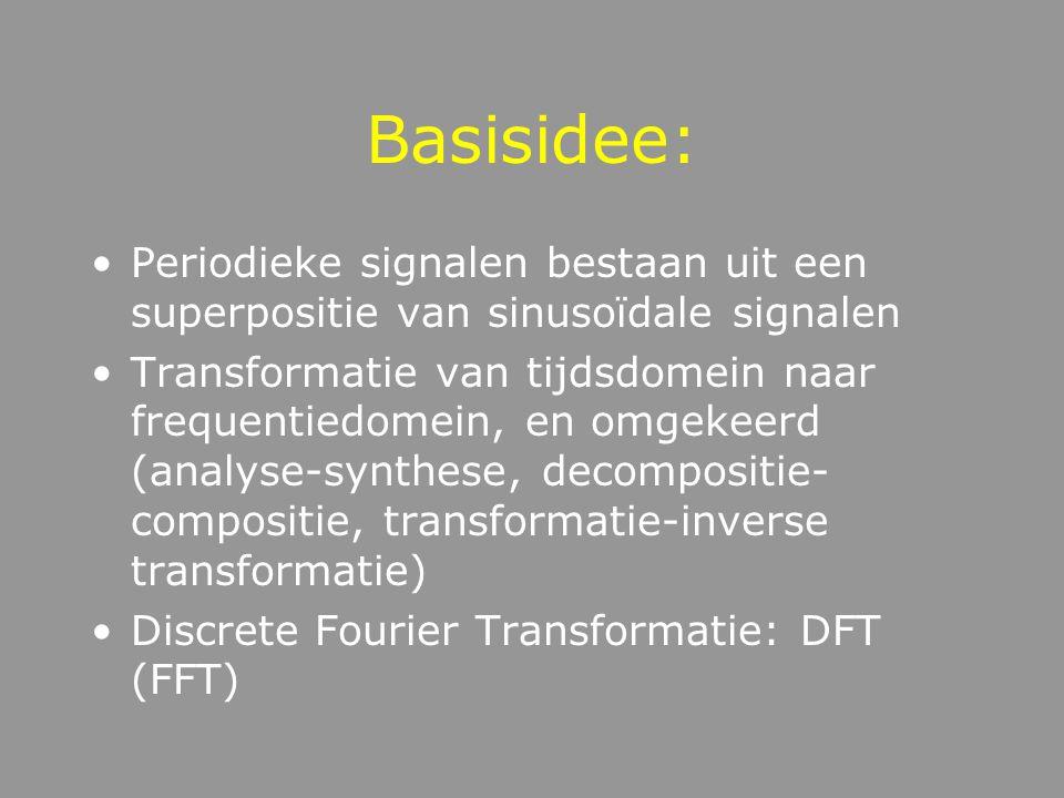 Basisidee: Periodieke signalen bestaan uit een superpositie van sinusoïdale signalen.