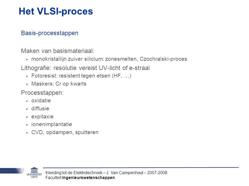 Het VLSI-proces Basis-processtappen Maken van basismateriaal: