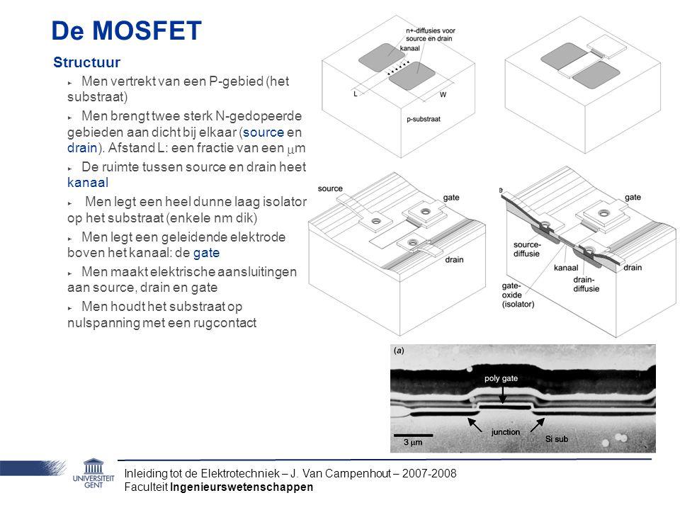 De MOSFET Structuur Men vertrekt van een P-gebied (het substraat)