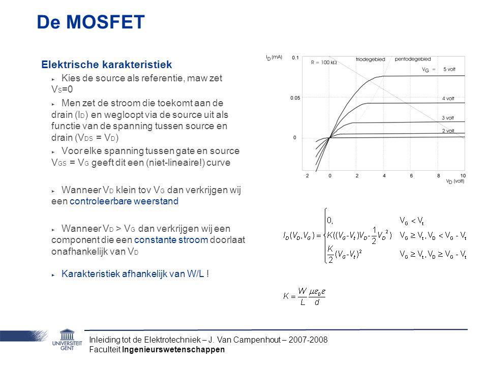 De MOSFET Elektrische karakteristiek