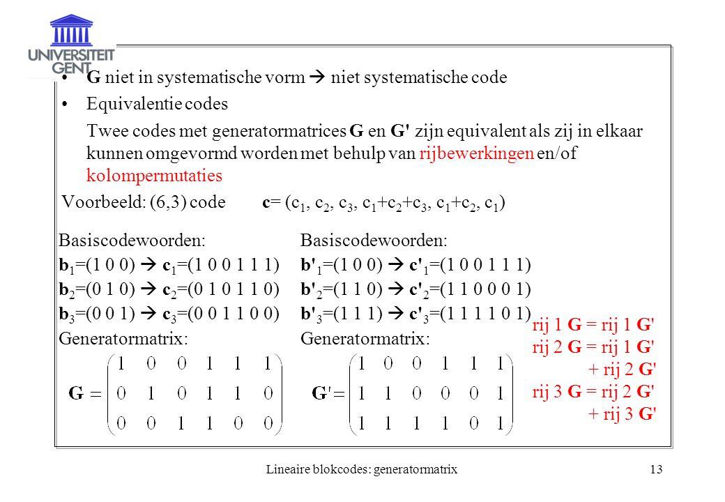 Lineaire blokcodes: generatormatrix