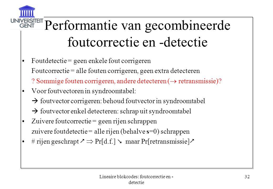 Performantie van gecombineerde foutcorrectie en -detectie